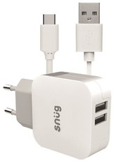 Snug 2 Port 3.4amp Charger with Type C Cable - White