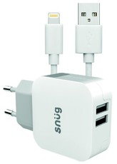 Snug 2 Port 3.4amp Charger with MFI Cable - White