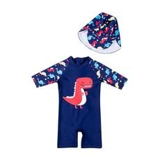 Full Body UV Protective UPF 50 + Dinosaur Swimsuit with Hat