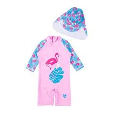 Full Body UV Protective UPF 50+ Flamingo Swimsuit with Hat