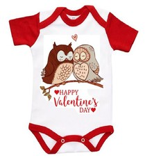 The Funky Shop - White/Red Baby Grow - Valentine Brown Owls