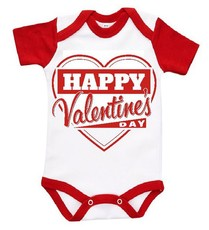 The Funky Shop - White/Red Baby Grow - Happy Valentines Heart