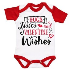 The Funky Shop - White/Red Baby Grow - Hugs And Valentine Wishes
