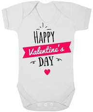 The Funky Shop - White Baby Grow - Happy Valentines Day