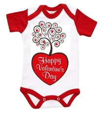 The Funky Shop - White/Red Baby Grow - Valentines Tree With Heart