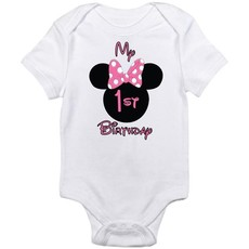 My First Birthday Minnie Mouse Short Sleeve Baby Grower