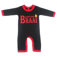 Magpie Designs Kom Ons Braai Black Babygrow/onsie