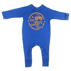 Magpie Designs Dirt Never Hurt Royal Blue Babygrow/onsie