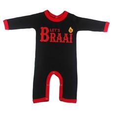 Magpie Designs Let's Braai Black Babygrow/onsie