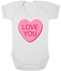 The Funky Shop - White Baby Grow - Pink Love You Sweet