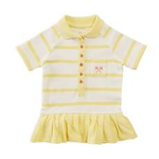 Parental Instinct Girls Striped Emily Dress with Snap Snaps - Lemon Drop & Egg Shell