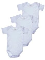 Infants White Short Sleeve Bodyvest 3 Pack