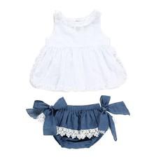 Kittikin - Denim Bloomer Baby Girl Set