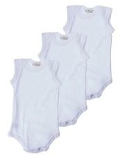 Infants White Sleeveless Bodyvest 3 Pack