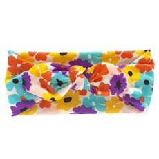 Soft Stretchy Baby Girl Floral Knotted Bow Headbands - Mustard