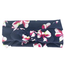 Soft Stretchy Baby Girl Floral Knotted Bow Headbands - Navy
