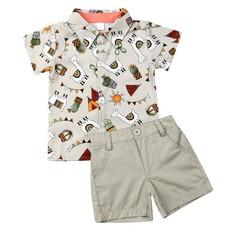 Baby Boy Llama Short Sleeve Shirts Pants Summer Clothes Set