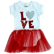 Valentines Baby Grow Girls Dress with Frill - Red