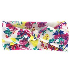 Soft Stretchy Baby Girl Floral Knotted Bow Headbands - White