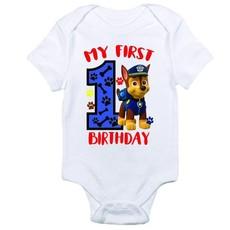 Paw Patrol-Birthday T Shirt-My first birtday-Chase