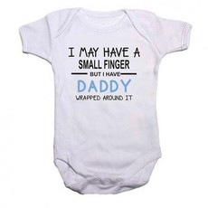 Qtees Africa I May Have A Small Finger But I Still Have Daddy Wrapped Around It Blue Short Sleeve Boys Baby Grow