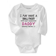 Qtees Africa I May Have A Small Finger But I Still Have Daddy Wrapped Around It Pink Long Sleeve Girls Baby Grow