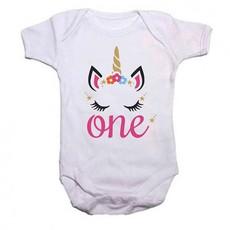 Qtees Africa First Birthday Unicorn Baby Grow