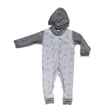 Poogy Bear 100% Cotton Hooded Babygrow Aqua Safari