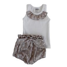 Poogy Bear 100% Cotton Stars High Waisted Shorts and Frill Singlet Set