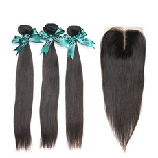 Brazilian Straight Hair Virgin Hair Weave Extensions with 4x4 Lace Closure 8A Grade - (10inch x3 + 8inch Closure)