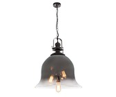 Bright Star Lighting Gun Metal Pendant with Faded Rose Gold Colour Glass