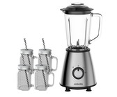 500W Stainless Steel Blender with 4 Mason jars