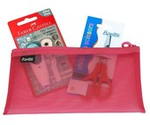 Bantex Pink DL Mesh Bag with Scissor and Correction Tape