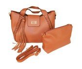 CRC Premium 8097 2-in-1 Designer Handbag Set - Brown