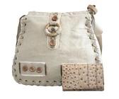 Fino Linen Crossbody / Sling Bag & Purse Set Beige