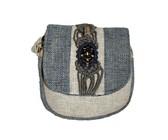 Fino Vintage Linen Handmade Crossbody Bag - Blue & Cream