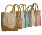 Fino Weave Woven Straw Beach Shopping Bag With Wooden Handle 5 Piece HY05642