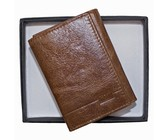 Fino Genuine Leather Wallet with Box- Brown