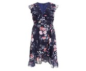 Quiz Ladies Curve Navy Floral Print Midi Dress