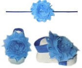Baby Headbands Girl's Fine Flower Thin Headband with matching Footies (Baby Bare Foot Sandals) - Powder Blue (0 - 2 Years)
