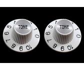 Allparts Guitar Split Shaft Witch Hat Tone Control Knob Set (White)