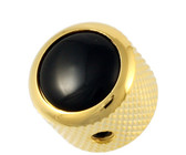 Q-Parts Guitar 14.6mm Tall Black Acrylic Dome Control Knob with Set Screw (Gold)