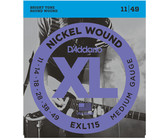 D'Addario EXL115 11-49 Nickel Wound Medium Blues-Jazz Rock Electric Guitar Strings