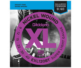 D'Addario EXL120BT 9-40 Nickel Wound Balanced Tension Super Light Electric Guitar Strings